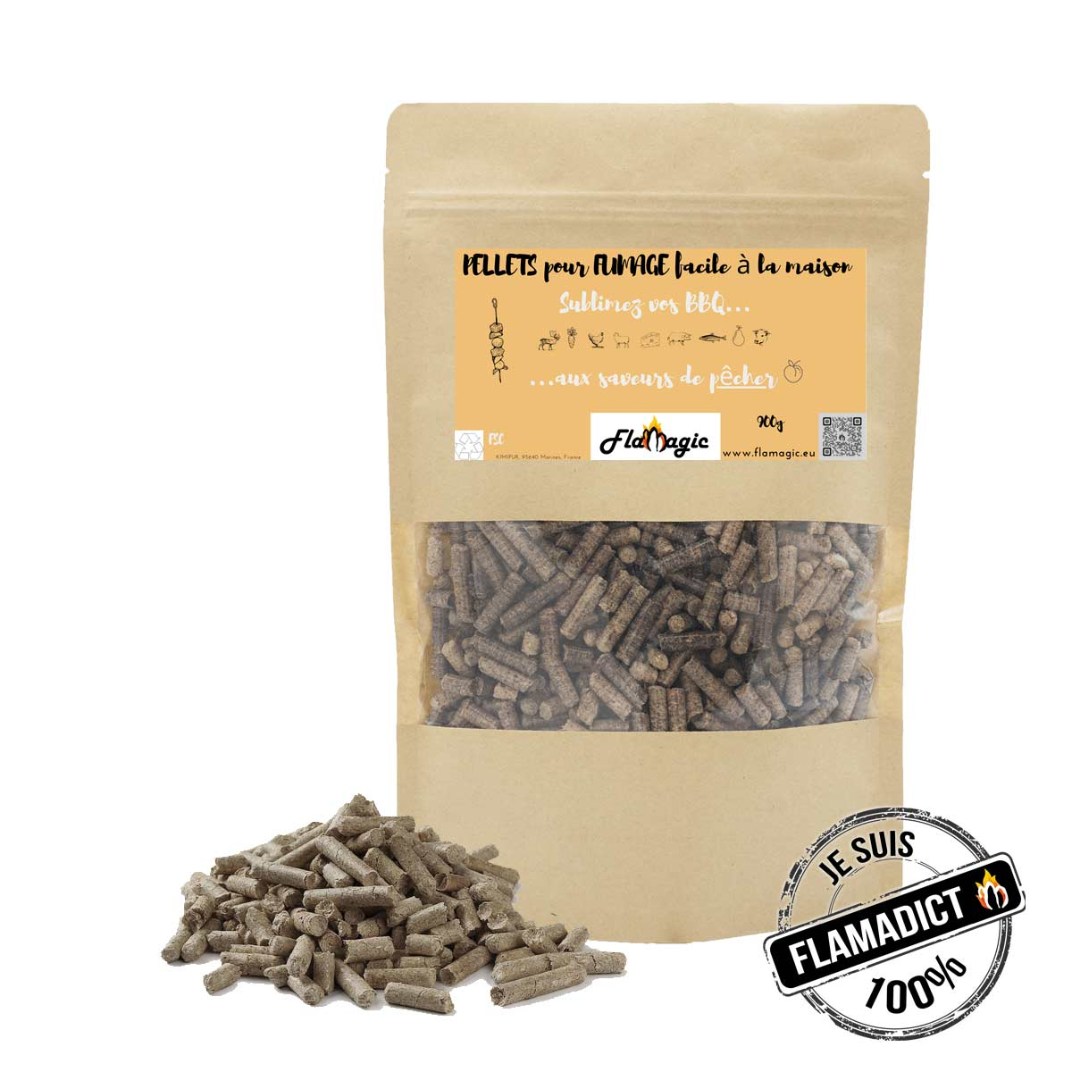 Sachet de bois de fumage pour barbecue en pellets granule saveur peche